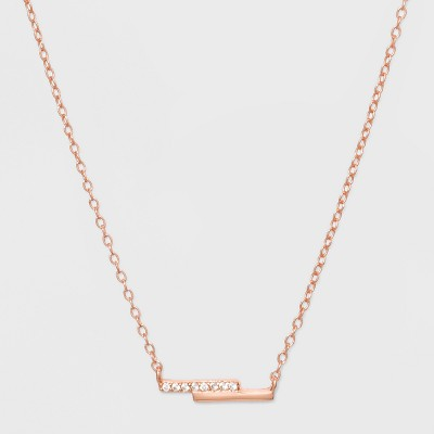 Sterling Silver Double Bar Cubic Zirconia Necklace - A New Day™ Rose Gold
