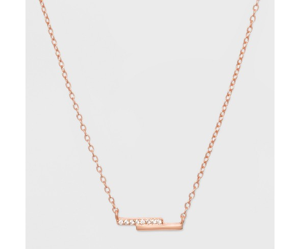 Sterling Silver Double Bar Cubic Zirconia Necklace A New Day 153 Rose Gold Buy Online In Brunei At Brunei Desertcart Com Productid 136889624