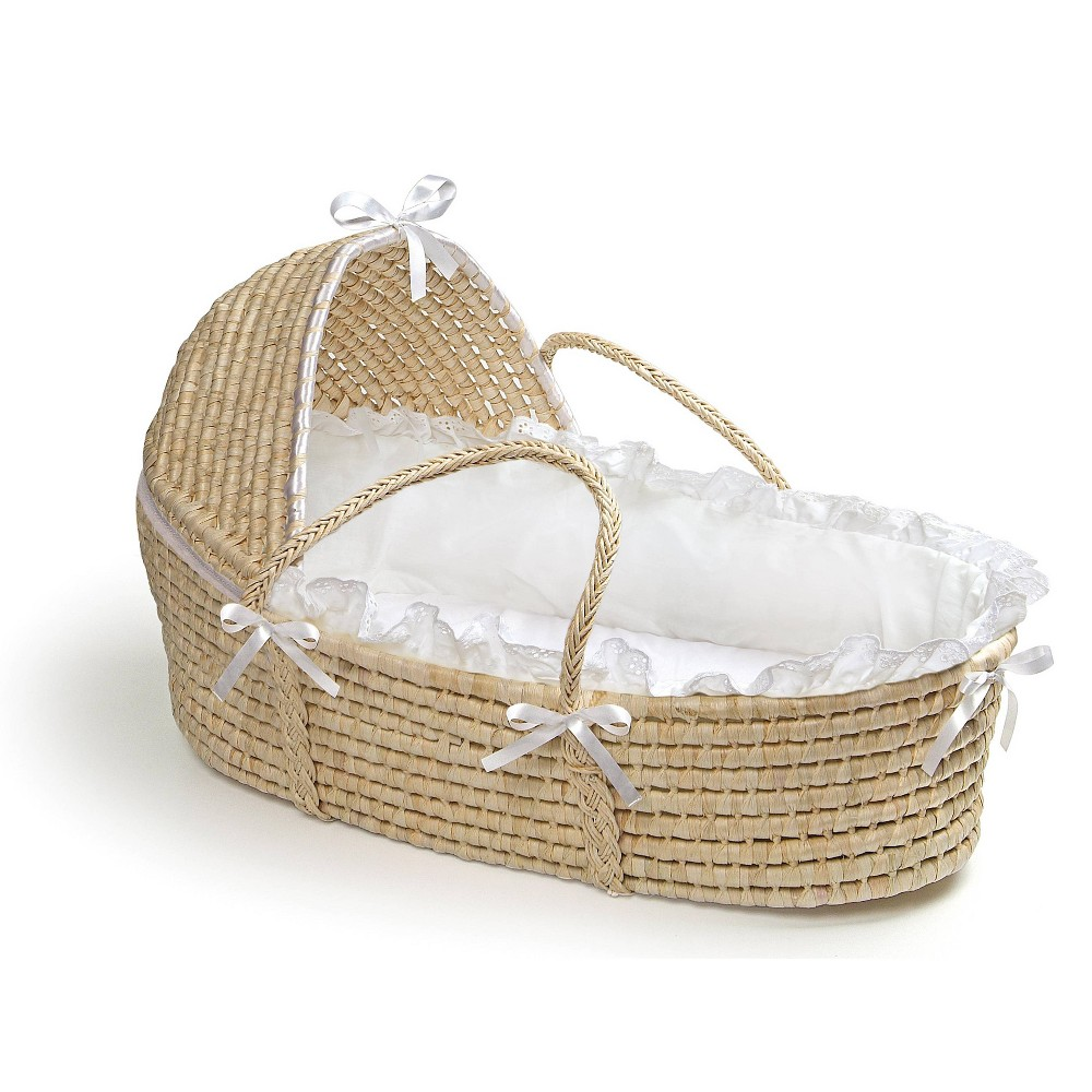Image of Badger Basket Natural Moses Basket with Hood Bedding - White