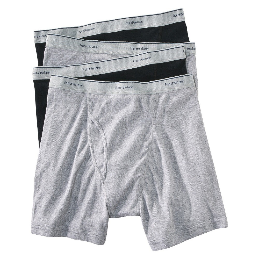 Fruit of the Loom Men's Boxer Briefs 4-Pack - Black/Gray XL