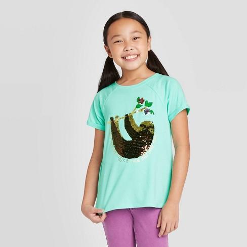 Girls' Short Sleeve Flip Sequin Sloth T-Shirt - Cat & Jack™ Mint - image 1 of 4