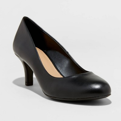 Women's Jinny Faux Leather Round Toe Heeled Pumps - A New Day™