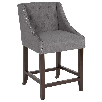 """Merrick Lane Upholstered Counter Stool 24"""" High Transitional Tufted Counter Stool with Accent Nail Trim"""