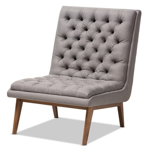 Baxton Studio Annetha Mid Century Modern Walnut Finished Wood Fabric Upholstered Lounge Chair Gray - image 1 of 9