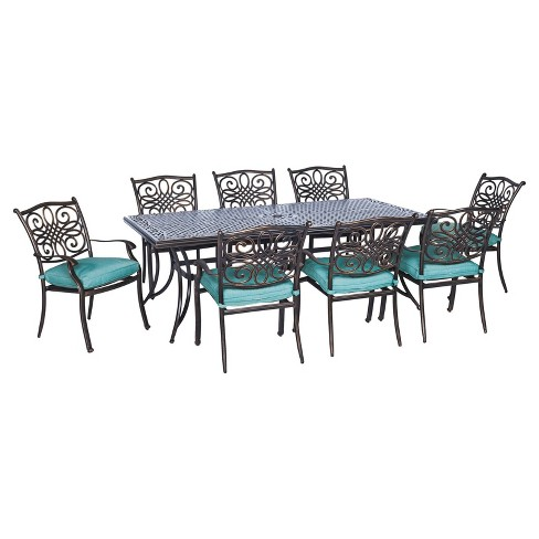 Seasons 9pc Rectangle Metal Patio Dining Set - Blue - Hanover - image 1 of 4