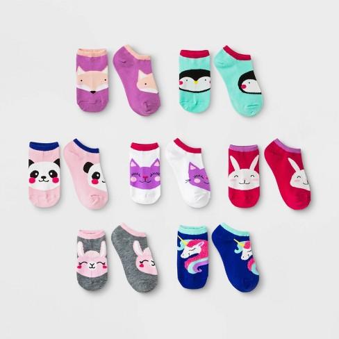 Girls' 7pk Fuzzy Critters No Show Socks - Cat & Jack™ Blue - image 1 of 1
