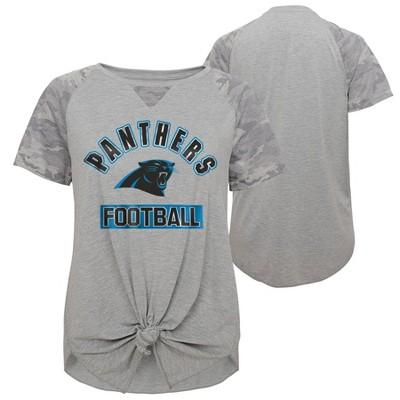 NFL Carolina Panthers Women's Short Sleeve Front Knot T-Shirt