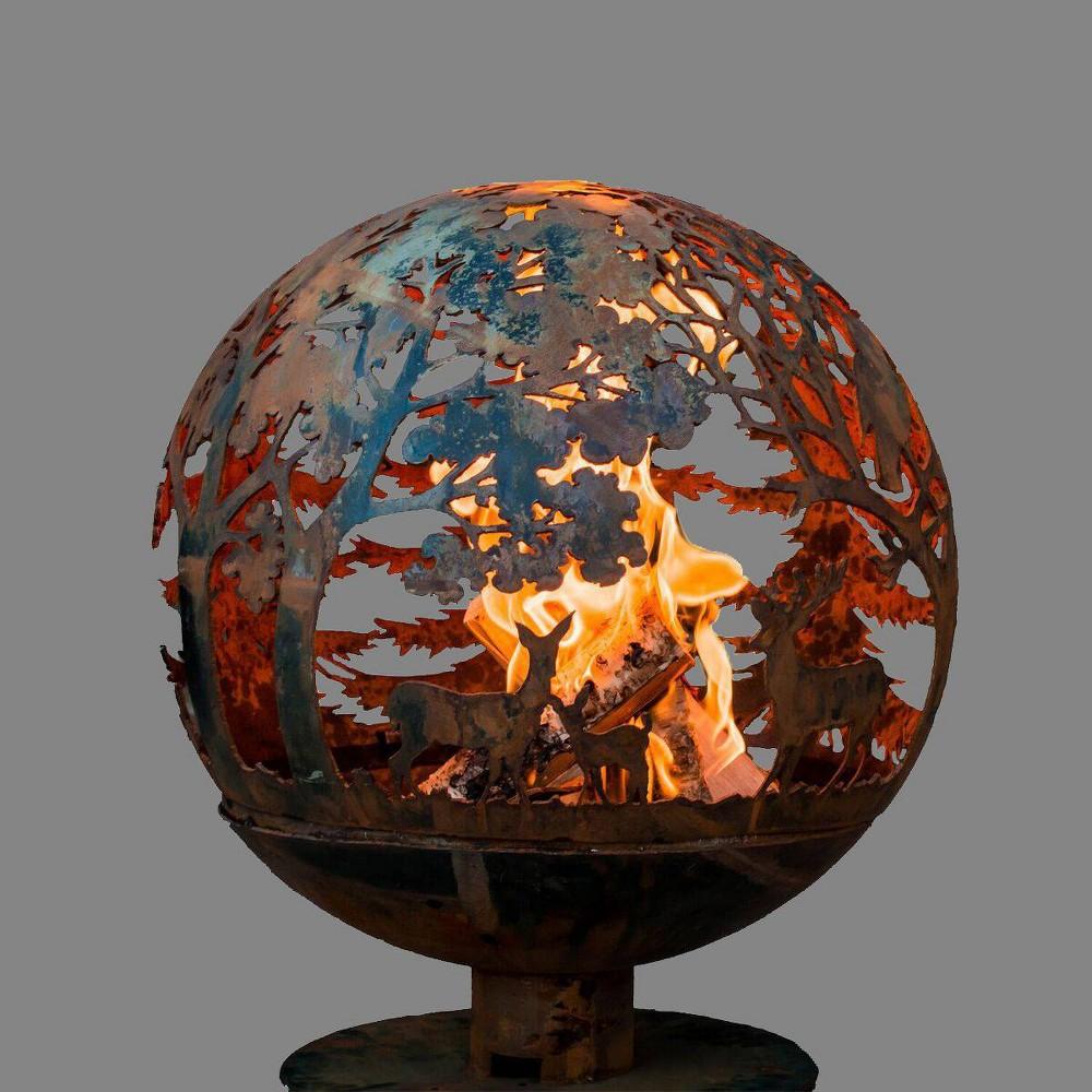 Laser Cut Wildlife Fire Sphere L - Esschert Design, Bronze