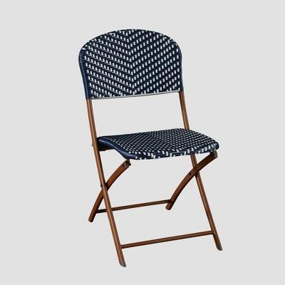 Superb French Café Wicker Folding Patio Bistro Chair   Navy/White   Threshold™