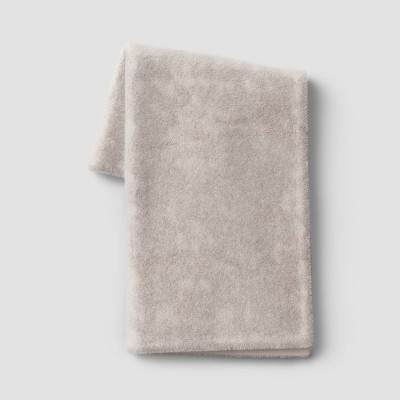 "50""x60"" Faux Rabbit Fur Throw Blanket Neutral - Threshold™"