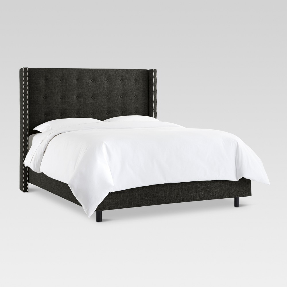 Nail Button Tufted Wingback Bed Black - Threshold