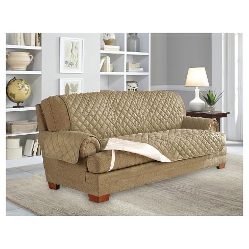 Camel Ultra Microsuede Waterproof Furniture Protector Sofa Slipcover Serta