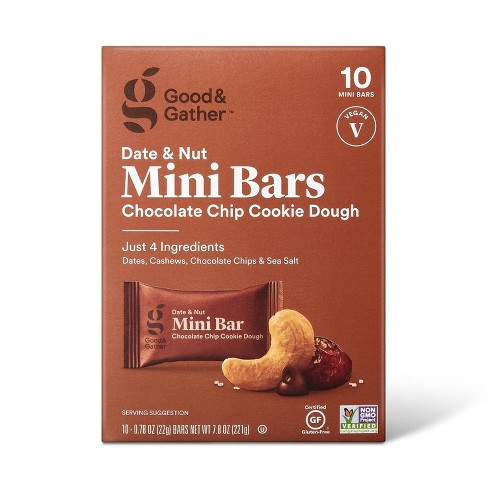 Date and nut Bars Mini Chocolate Chip Cookie Dough - 7.8oz/10ct - Good & Gather™ - image 1 of 4