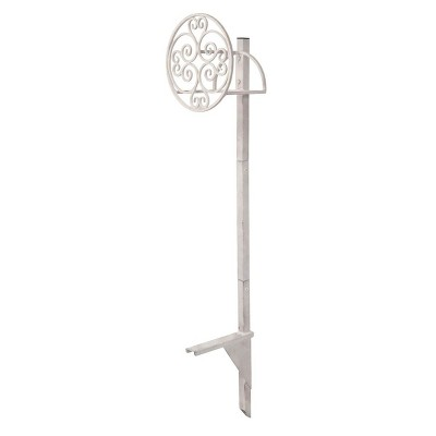 Suncast MHC100KIT 100 Foot 5/8 Inch Metal Rust Resistant Medallion Outdoor Garden Hose Reel Post Stake, White