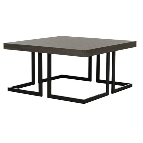 Amalya Mid Century Coffee Table Dark Gray Black Safavieh