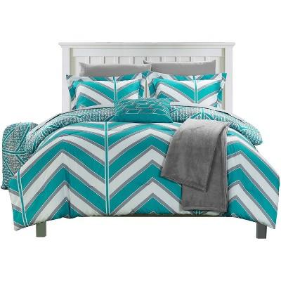 Chic Home Aloretta Laredo Geometric Chevron Comforter Bed In A Bag 8 Piece - Aqua
