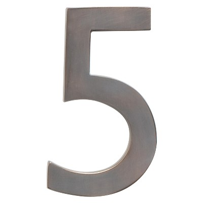 """Architectural Mailbox 4"""" Cast Floating House Number 5 Dark Copper"""