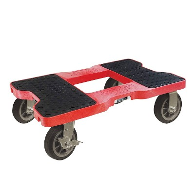 Snap Loc 1,500 lb Capacity All Terrain E Track Dolly Red, Heavy Duty 6 in Solid Rubber Swivel Caster Wheels