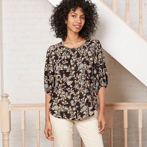 Women's Flounce 3/4 Sleeve Button-Front Top with Lurex - Knox Rose™ - image 1 of 2