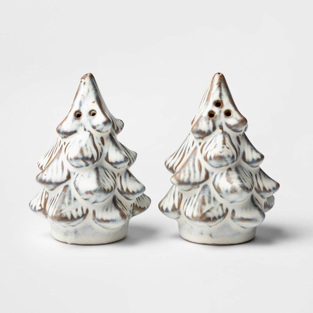 Image of 2pc Ceramic Tree Salt & Pepper Shaker Set White - Threshold