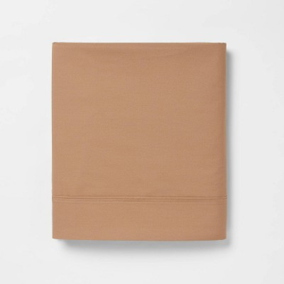 King 300 Thread Count Ultra Soft Flat Sheet Brown - Threshold™