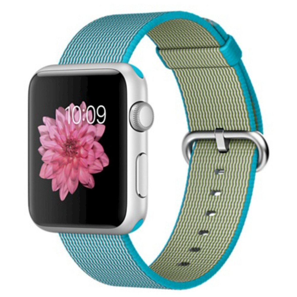 Apple Watch 1st Generation 42mm Silver Aluminum Case with Scuba Blue Woven Nylon Band