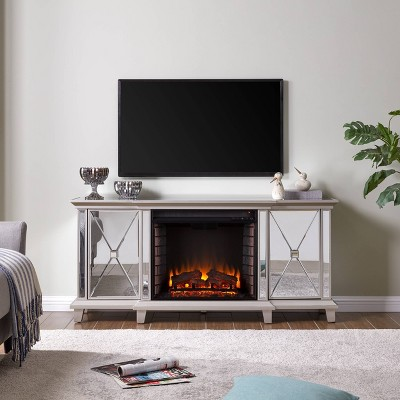 Tappington Mirrored Stanard electric Fireplace Media Console Silver - Aiden Lane