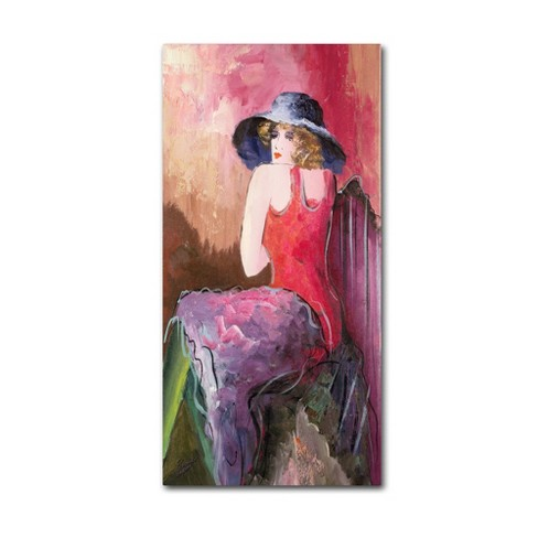 "Trademark Fine Art 24"" x 12"" Rosario Tapia 'Woman with Blue Hat' Canvas Art - image 1 of 3"