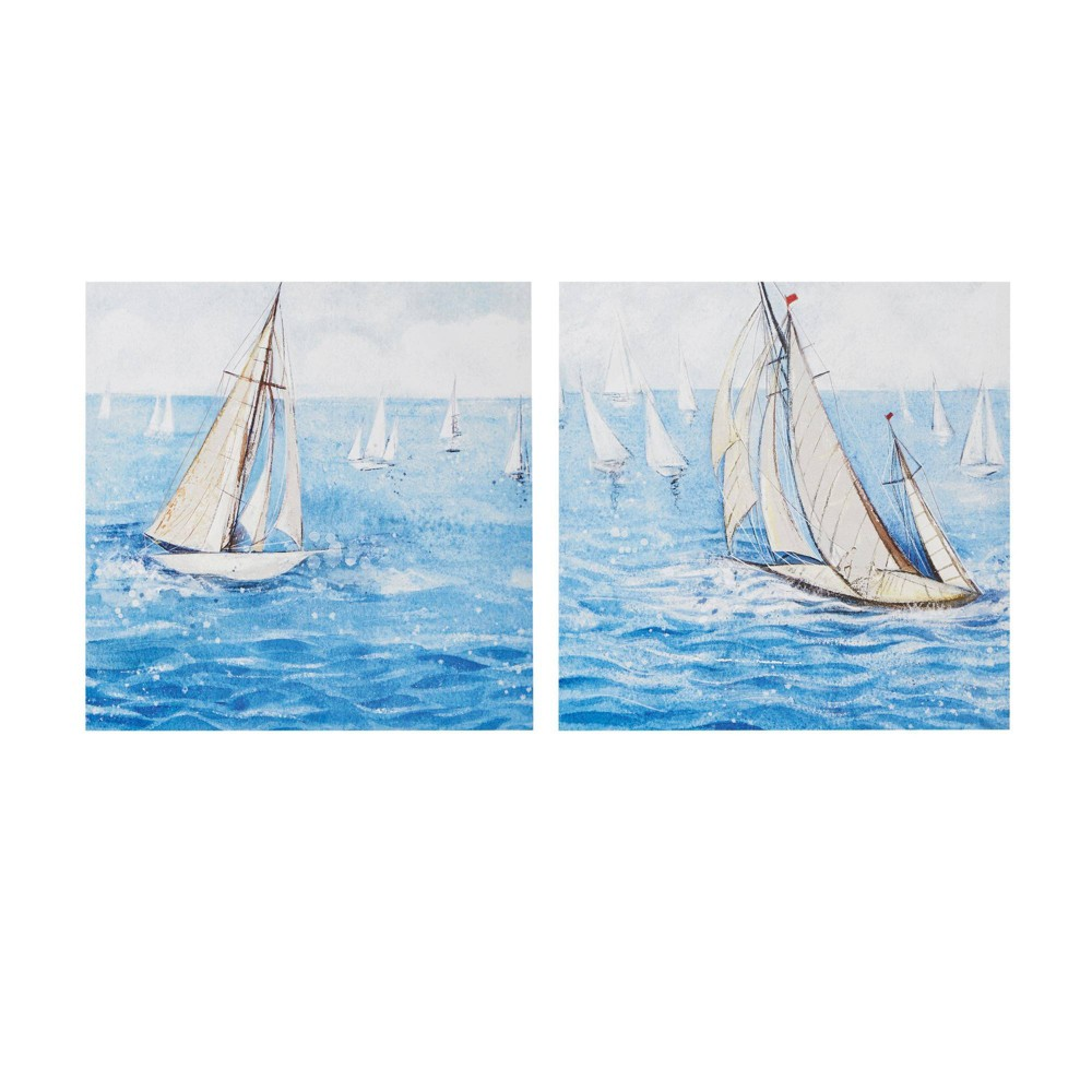 Image of 2pc Sailing Regatta Canvas Art Set Gel Coating Blue