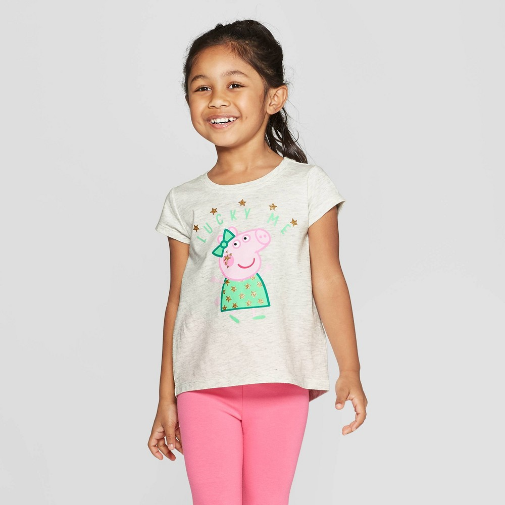 Toddler Girls' Peppa Pig Short Sleeve T-Shirt - White 2T