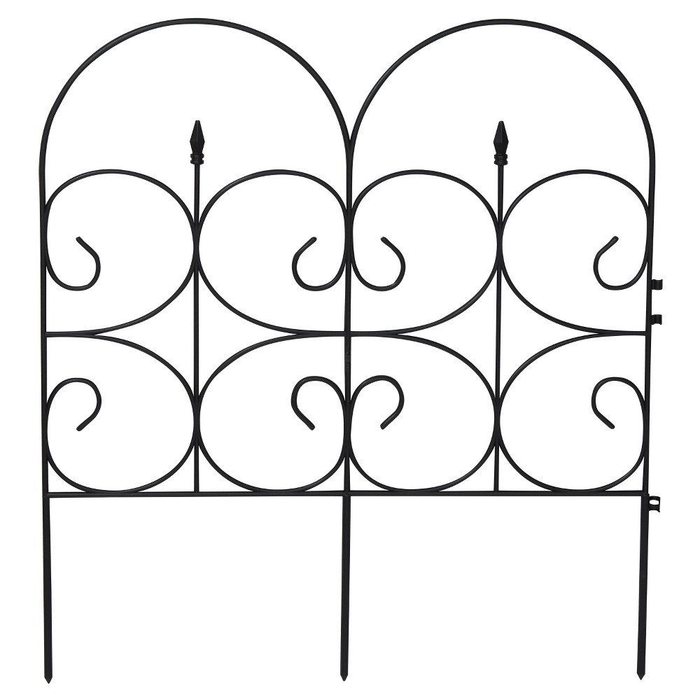 "Image of ""14' Victorian Fencing Large (32.4"""" X 28.3""""), Poly Fence, 6 Pc - Black - Emsco"""