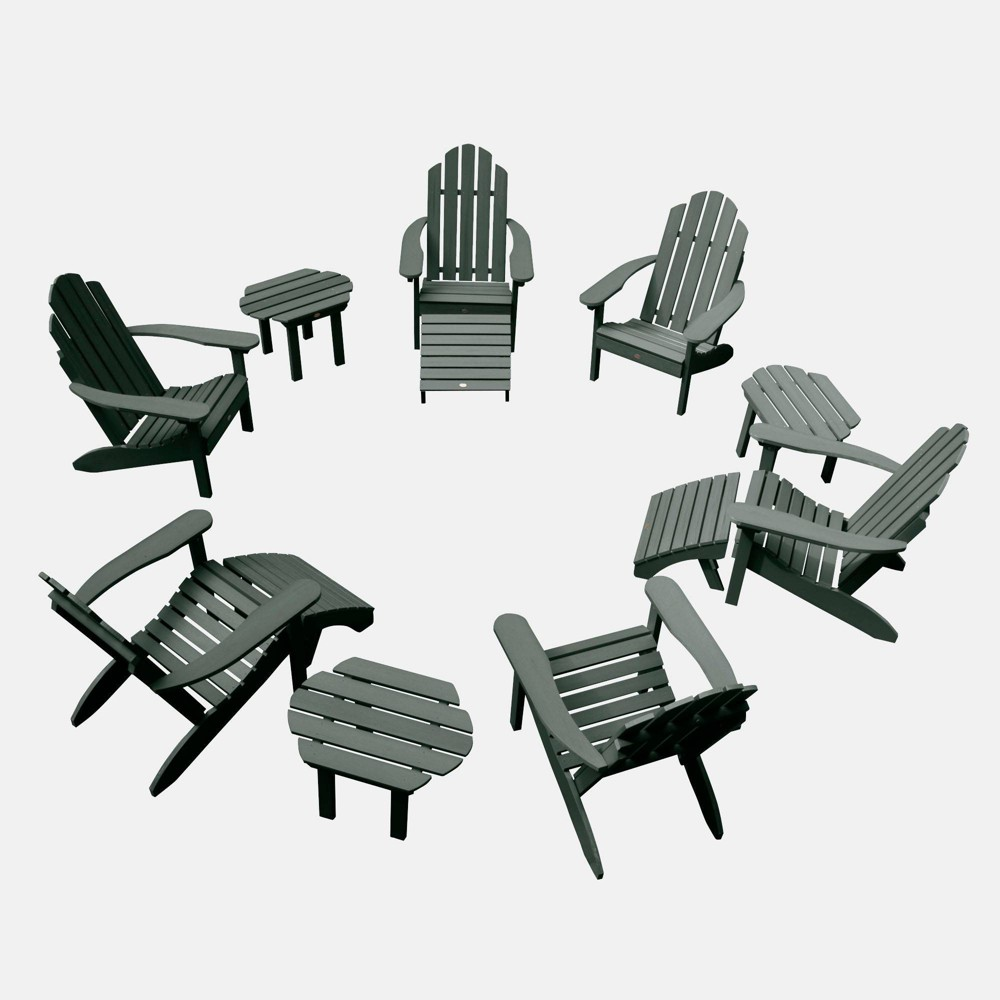 Image of 12pc Classic Westport Adirondack Patio Set Charleston Green - highwood