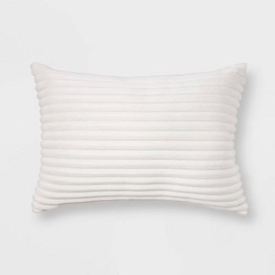 Oblong Cut Plush Throw Pillow Cream - Room Essentials™