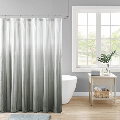 Maris Ombre Printed Seersucker Shower Curtain Gray
