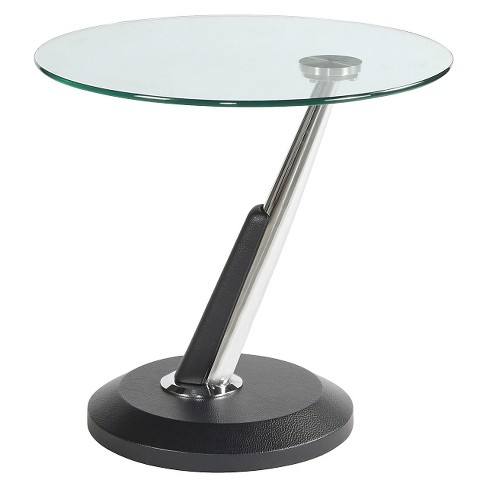 Modesto Metal and Glass Round End Table Synthetic Black - Magnussen Home - image 1 of 1