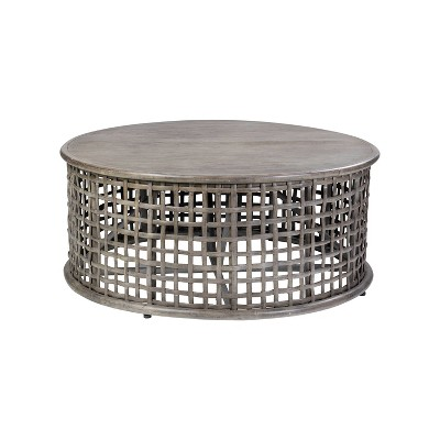 Open Weave Rattan Coffee Table Gray - East at Main