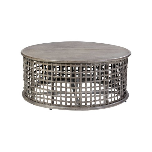 Open Weave Rattan Coffee Table Gray, Rattan Coffee Table Round