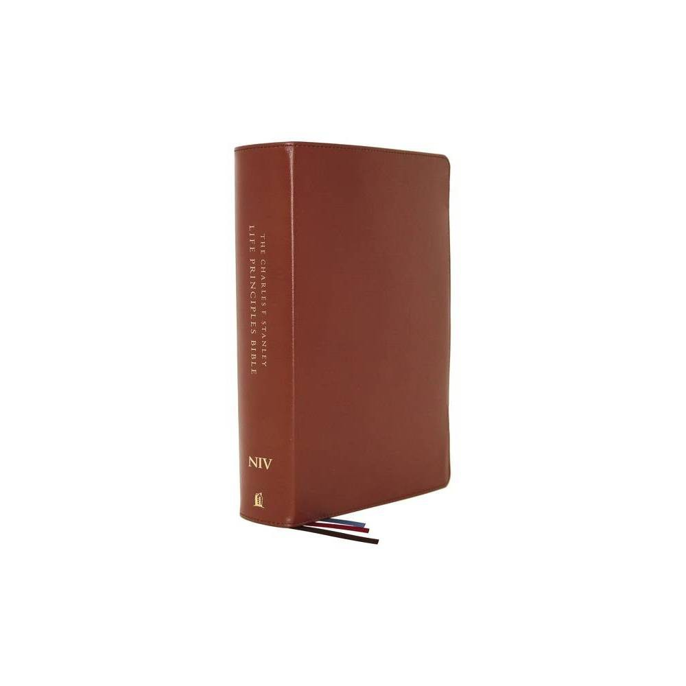Niv Charles F Stanley Life Principles Bible 2nd Edition Genuine Leather Brown Thumb Indexed Comfort Print By Thomas Nelson Leather Bound