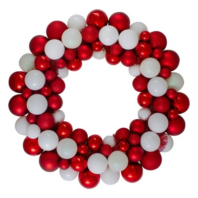 Northlight White and Red 3-Finish Shatterproof Ball Christmas Wreath - 24-Inch, Unlit