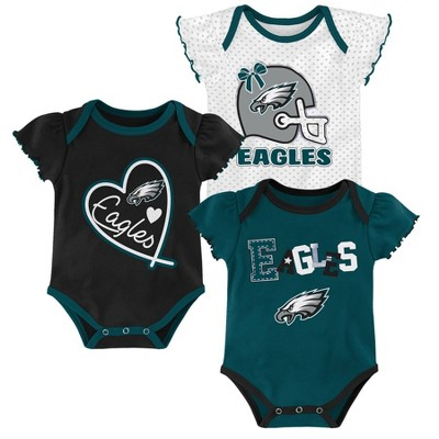NFL Philadelphia Eagles Baby Girls' Newest Fan 3pk Bodysuit Set - 3-6M