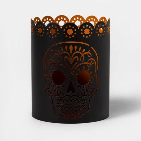 Da de Muertos Round Votive Candle Holder Orange/Black - image 1 of 2