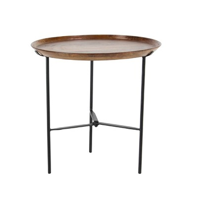 Traditional Iron and Mango Wood Accent Table Brown - Olivia & May