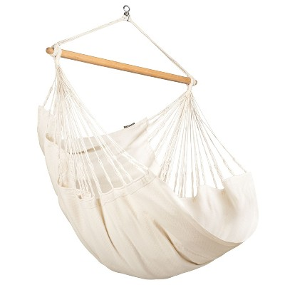 La Siesta Organic Cotton 360 Degree Swivel Comfort Size Indoor Outdoor Patio Hammock Chair with 43 Inch Bamboo Spreader Bar, Latte