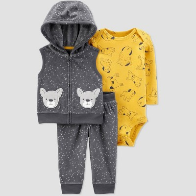 Baby Boys' 3pc Dog Hooded Vest Top & Bottom Sets - Just One You® made by carter's Yellow/Gray 6M
