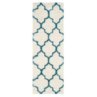 Ivory/Blue Quatrefoil Design Loomed Runner 2'3 X5' - Safavieh