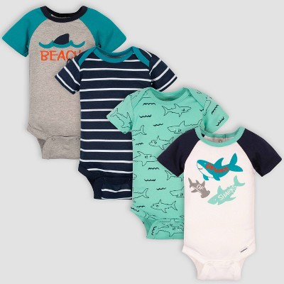 Gerber Baby Boys' 4pk Shark Onesies - Green/Gray/Blue 6-9M