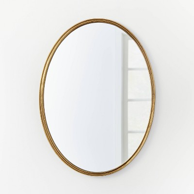 "26"" x 36"" Oval Shape Antique Mirror Brass - Threshold™ designed with Studio McGee"