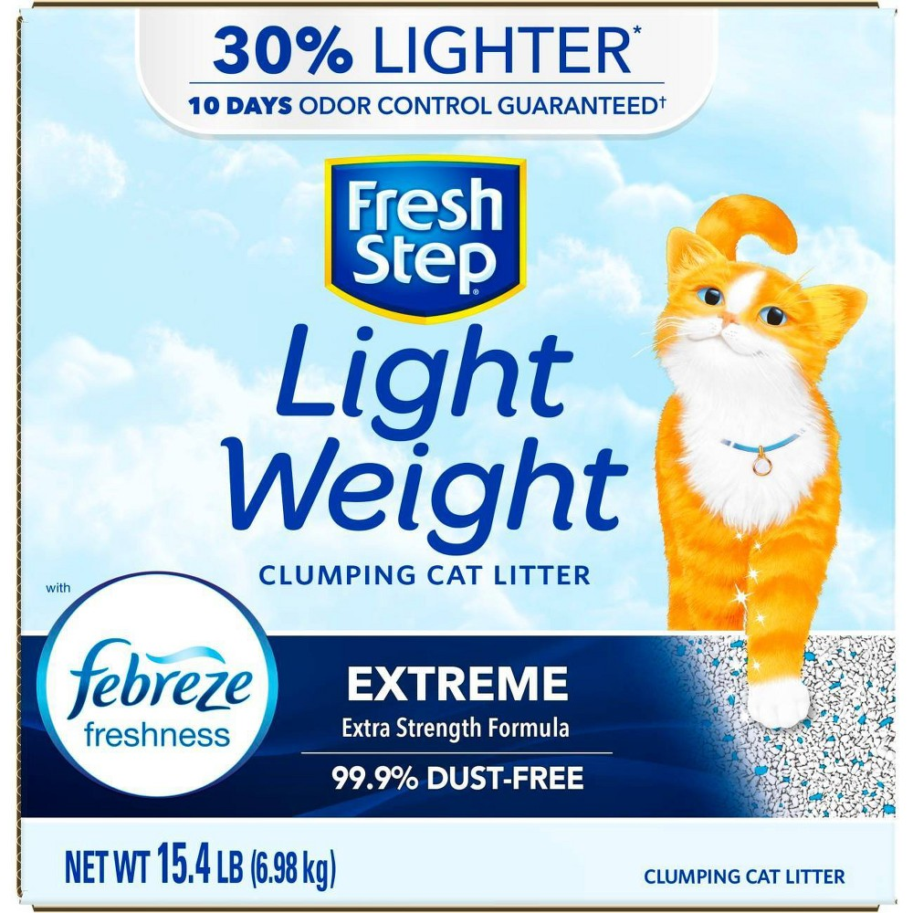 Fresh Step Lightweight Extreme Scented Litter with the Power of Febreze Clumping Cat Litter- 15.4lb Top