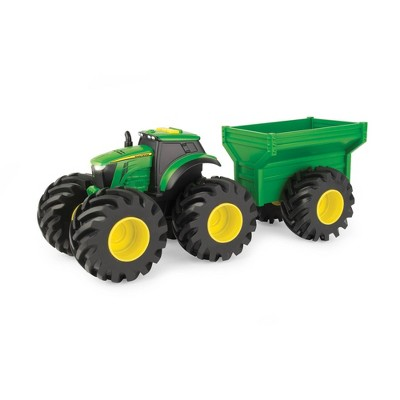 """John Deere Monster Treads Lights & Sounds 8"""" Tractor with Wagon"""