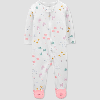 Baby Girls' Animal Print Sleep N' Play - Just One You® made by carter's White 3M